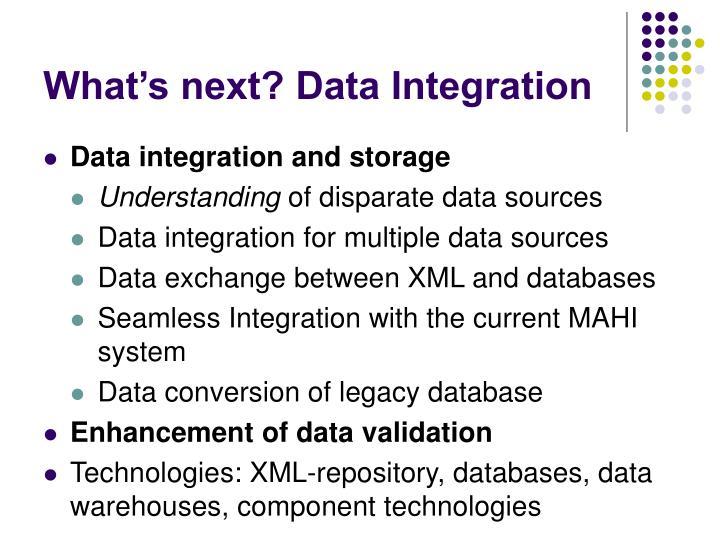 What's next? Data Integration