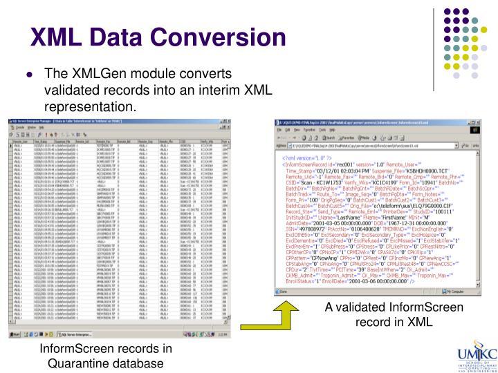 XML Data Conversion