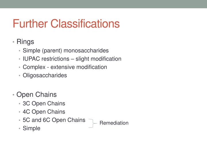 Further Classifications