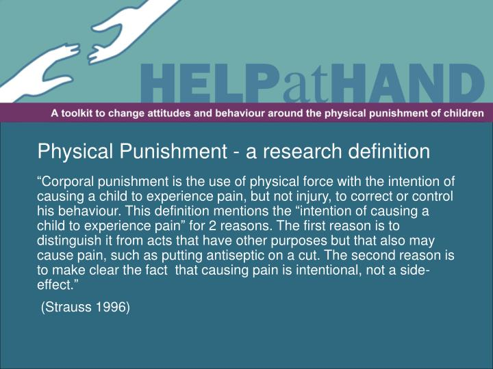 Physical Punishment - a research definition