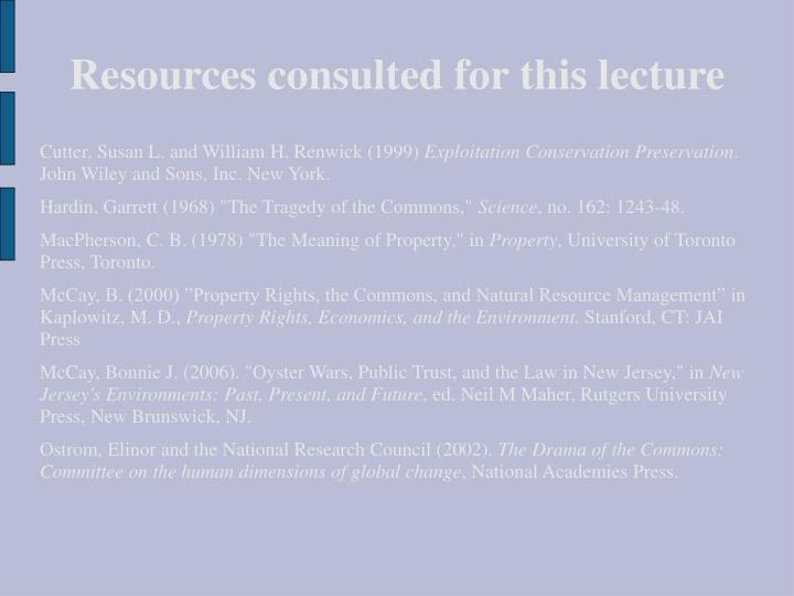 Resources consulted for this lecture