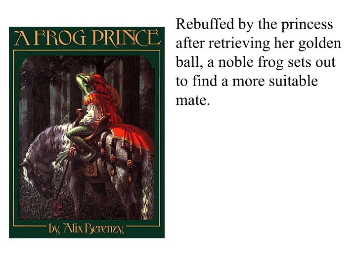 Rebuffed by the princess after retrieving her golden ball, a noble frog sets out to find a more suitable mate.