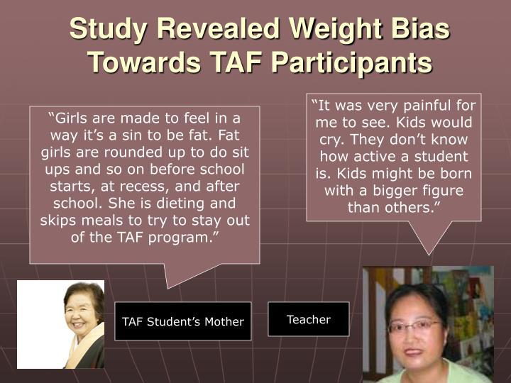 Study Revealed Weight Bias Towards TAF Participants