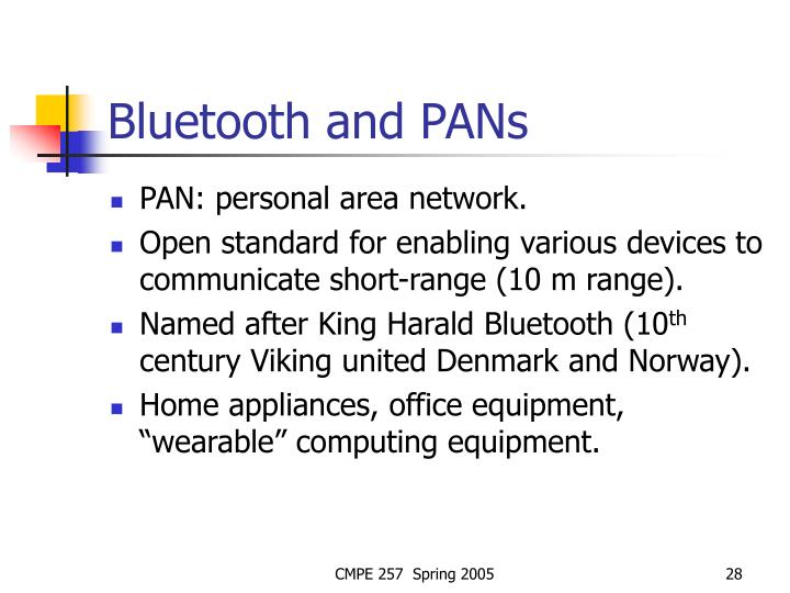 Bluetooth and PANs