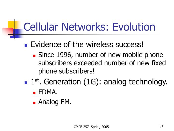 Cellular Networks: Evolution