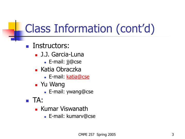 Class information cont d
