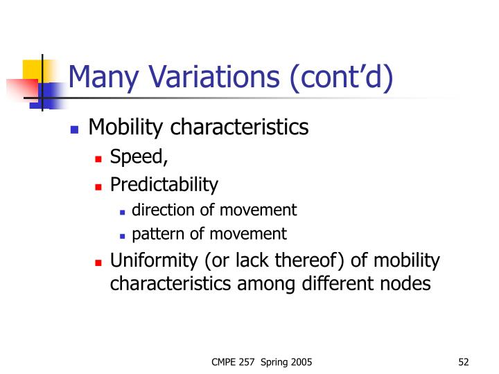 Many Variations (cont'd)