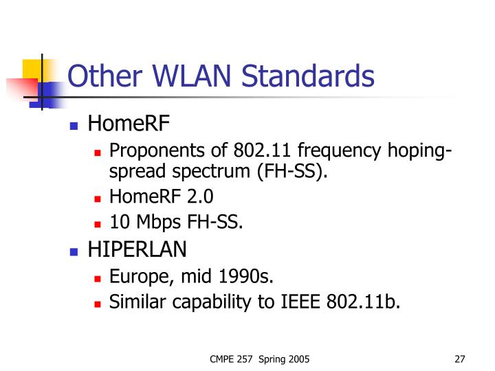 Other WLAN Standards