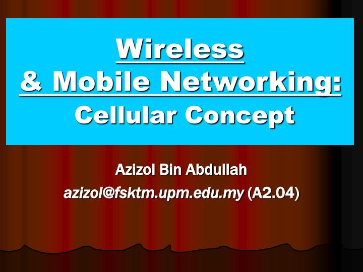 wireless mobile networking cellular concept