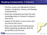 reading components 4 corners