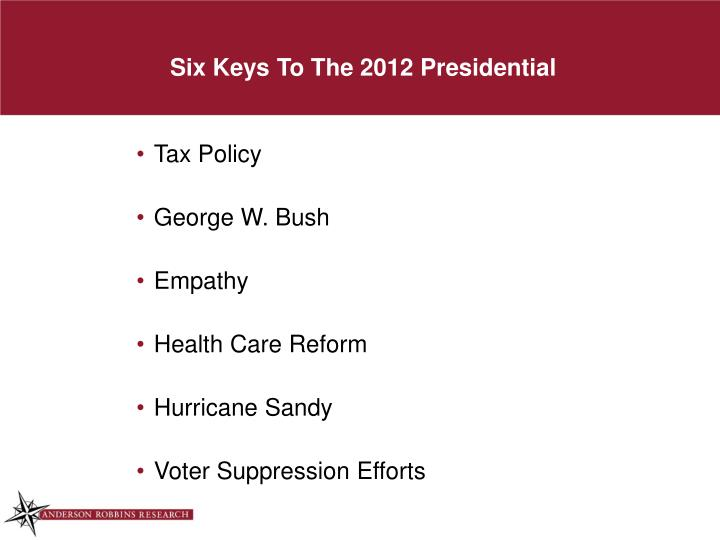 Six Keys To The 2012 Presidential