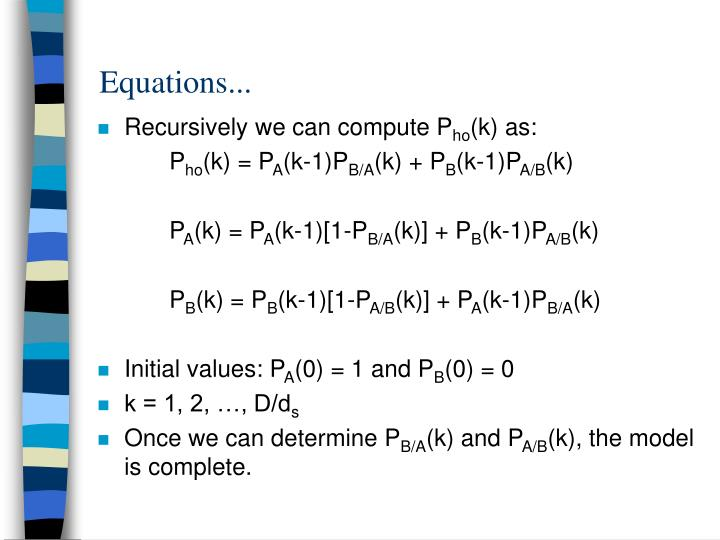 Equations...