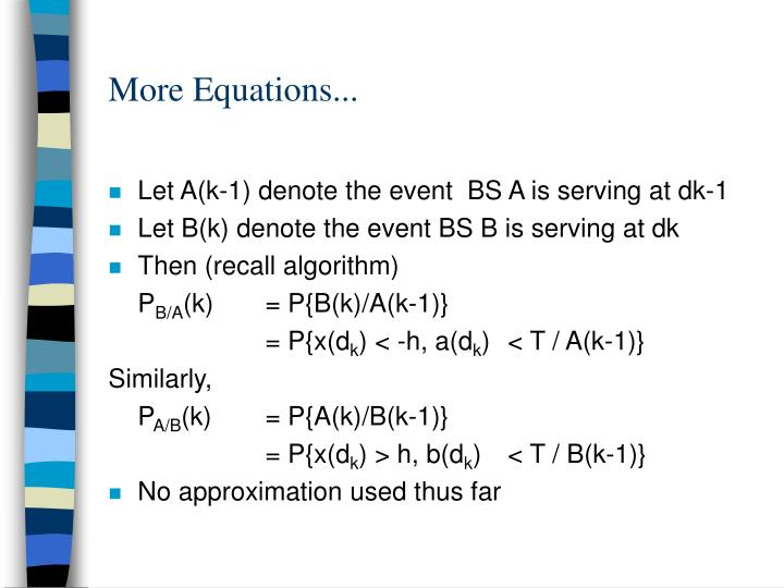 More Equations...