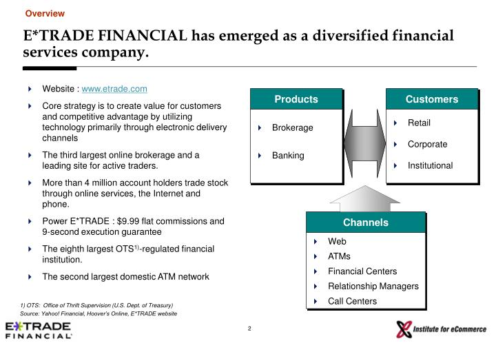 E trade financial has emerged as a diversified financial services company