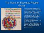 the need for educated people grows