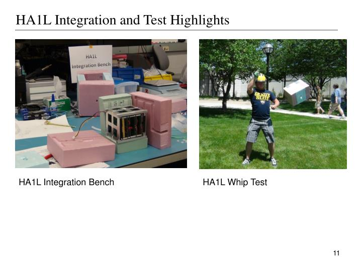 HA1L Integration and Test Highlights