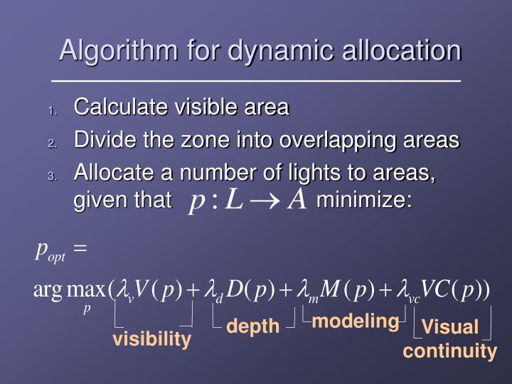 Algorithm for dynamic allocation