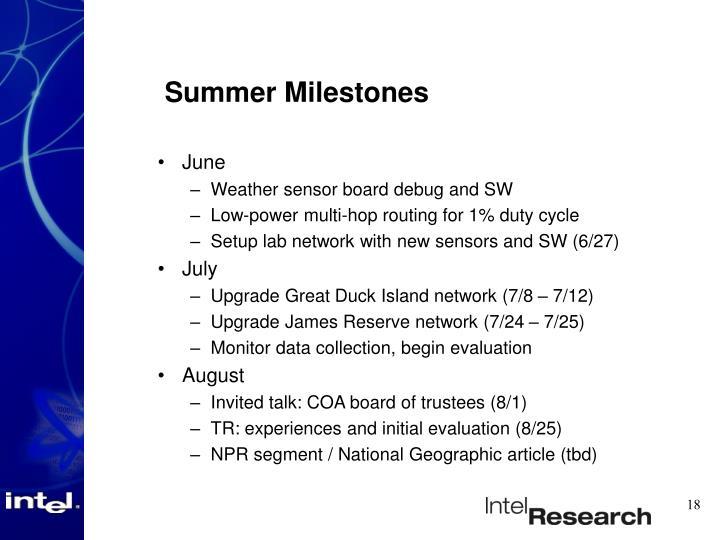 Summer Milestones