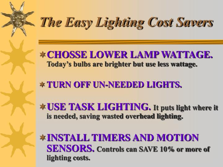 The Easy Lighting Cost Savers