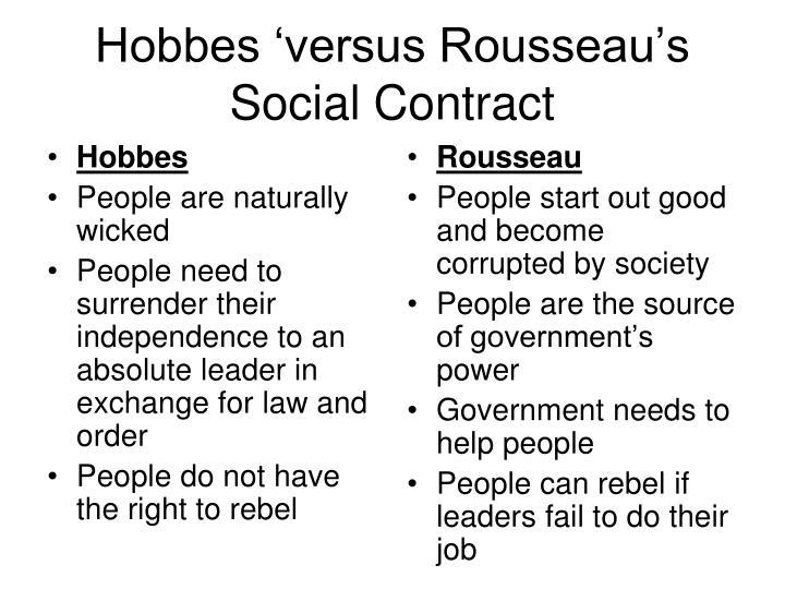 Hobbes 'versus Rousseau's Social Contract