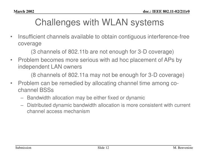 Challenges with WLAN systems