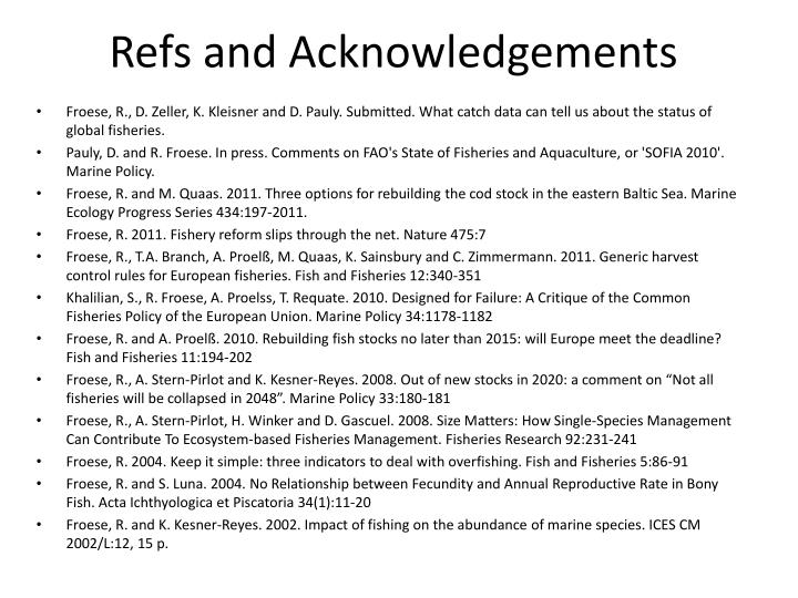 Refs and Acknowledgements