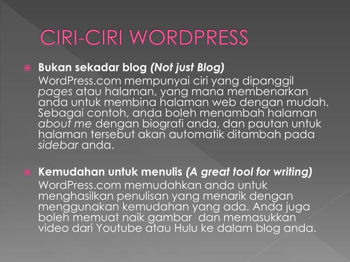 Ciri ciri wordpress