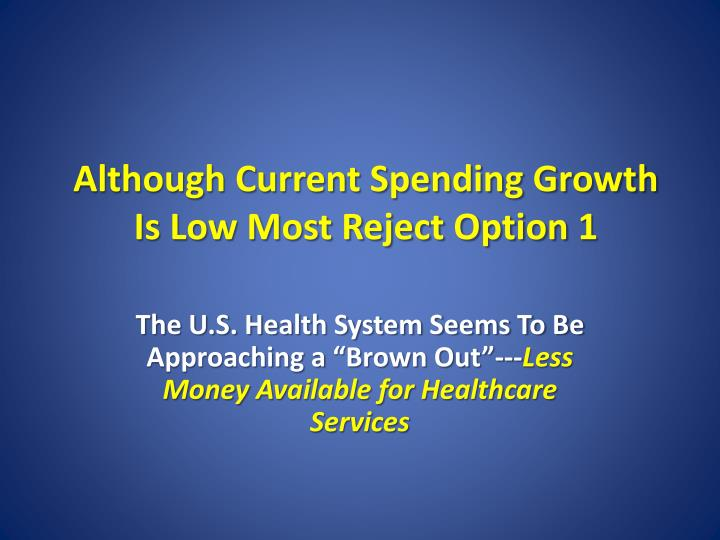 Although Current Spending Growth Is Low Most Reject Option 1