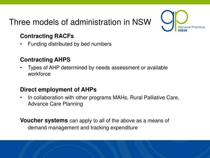 Three models of administration in NSW
