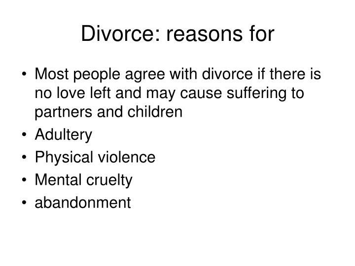 Divorce: reasons for