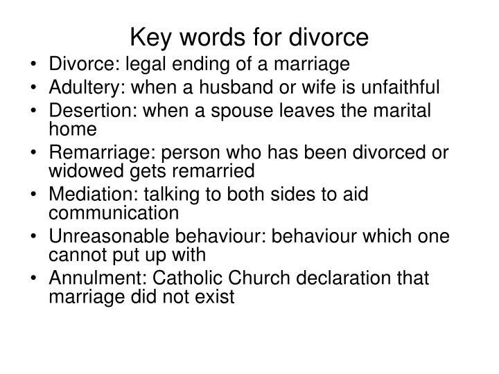 Key words for divorce