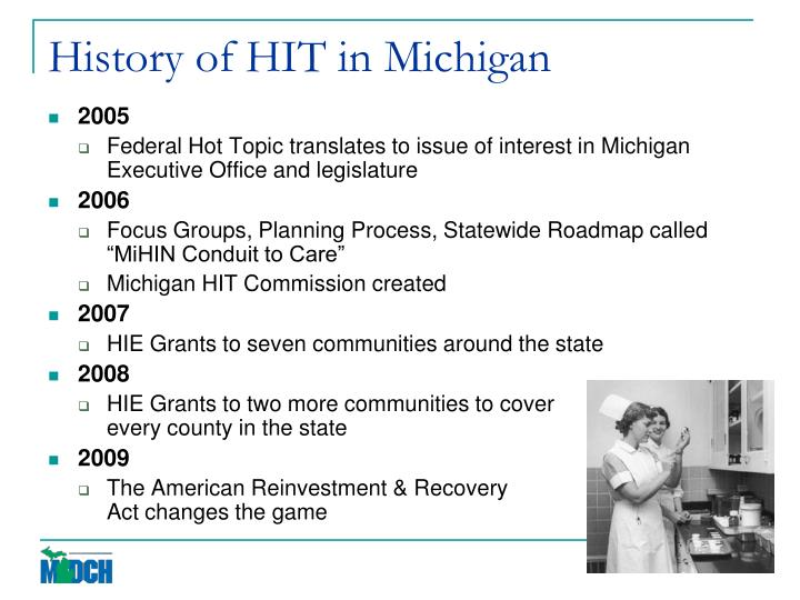 History of HIT in Michigan