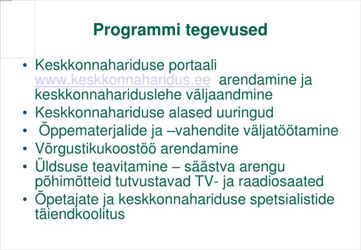 Programmi tegevused