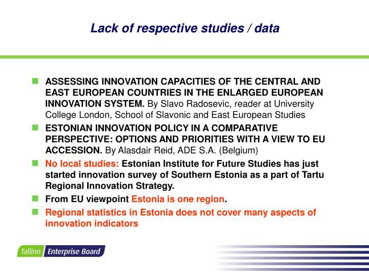 Lack of respective studies data