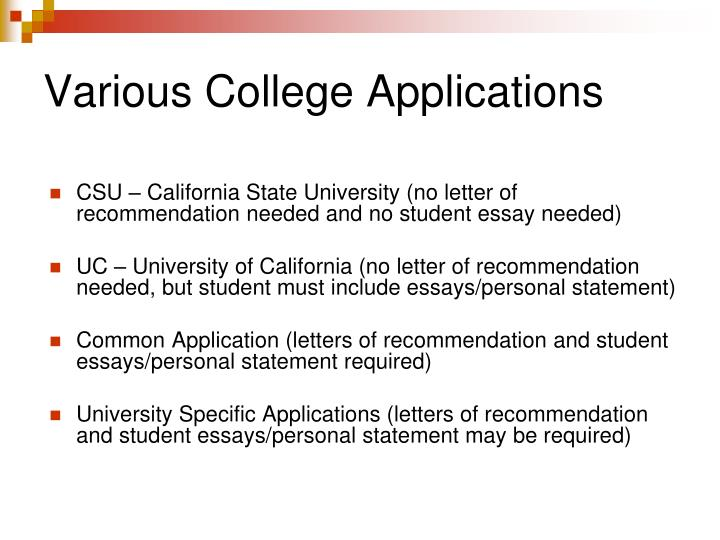 Various College Applications