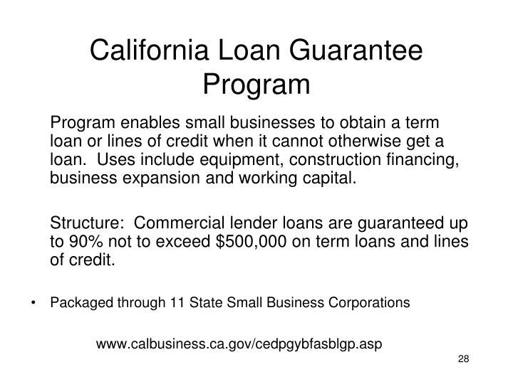 California Loan Guarantee Program