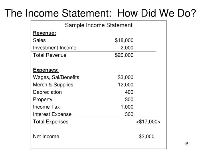 The Income Statement:  How Did We Do?