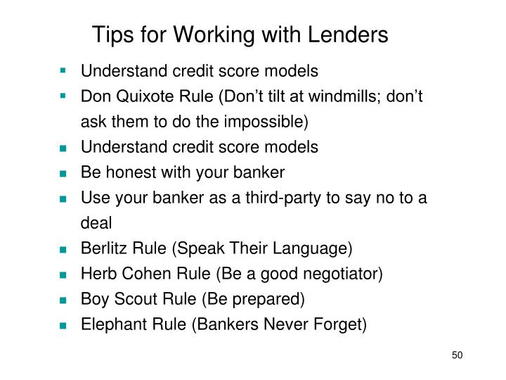 Tips for Working with Lenders