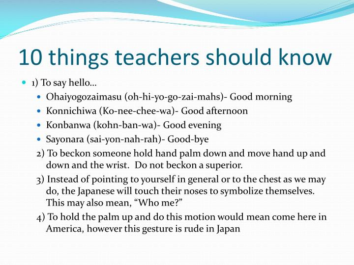 10 things teachers should know