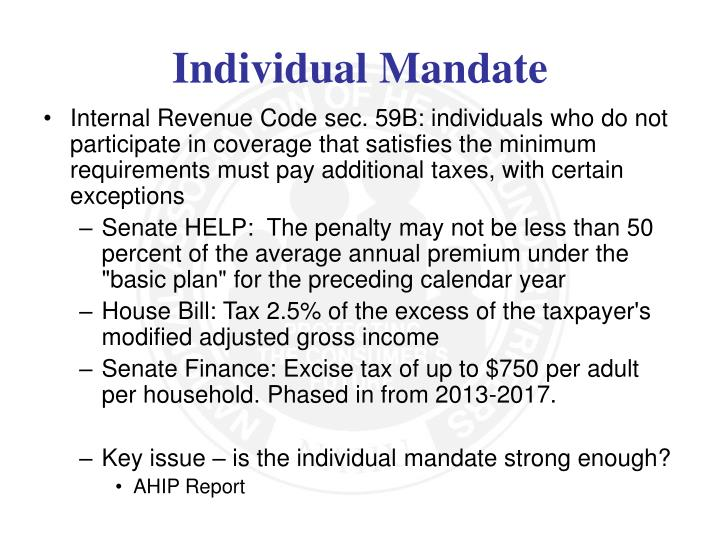 Internal Revenue Code sec. 59B: individuals who do not participate in coverage that satisfies the minimum requirements must pay additional taxes, with certain exceptions