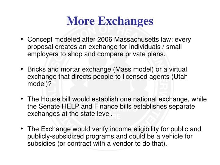 Concept modeled after 2006 Massachusetts law; every proposal creates an exchange for individuals / small employers to shop and compare private plans.