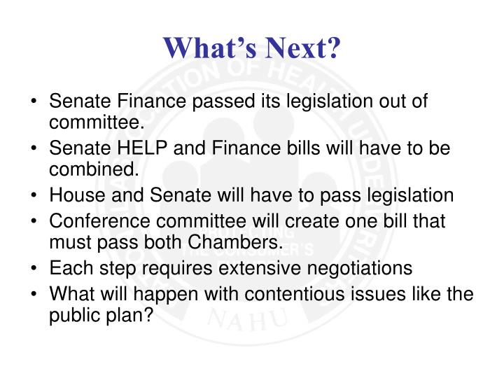 Senate Finance passed its legislation out of committee.