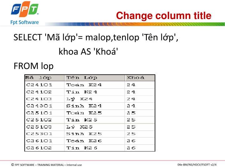 Change column title
