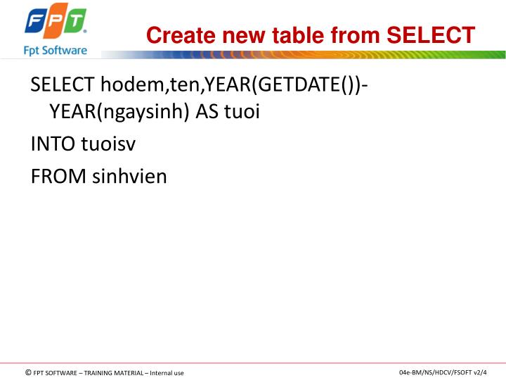 Create new table from SELECT