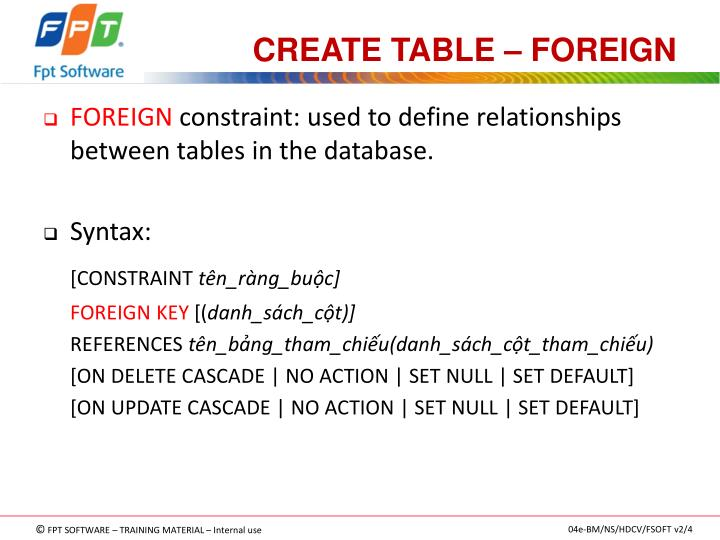 CREATE TABLE – FOREIGN