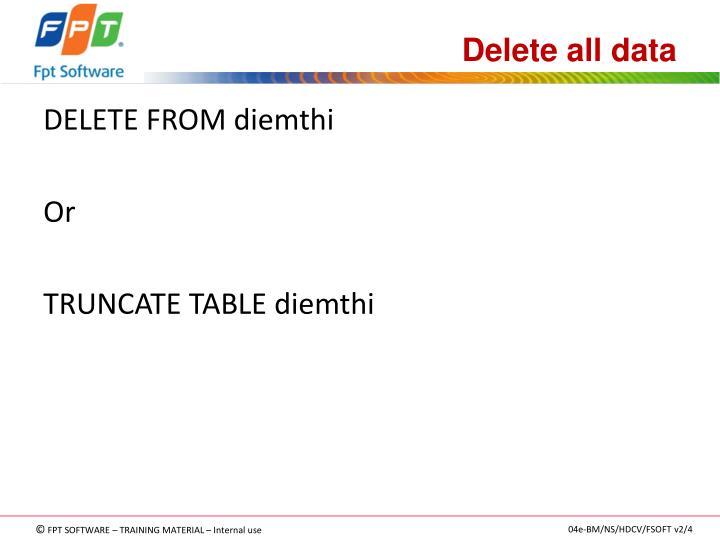 Delete all data