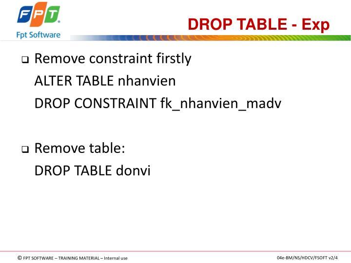 DROP TABLE - Exp