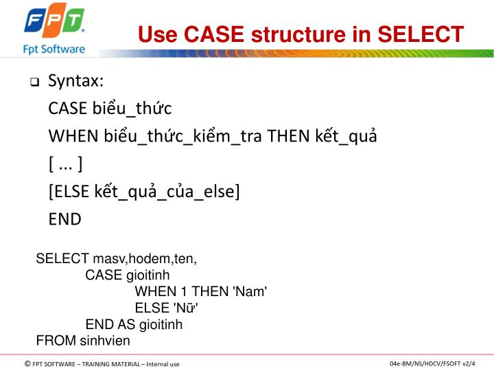 Use CASE structure in SELECT