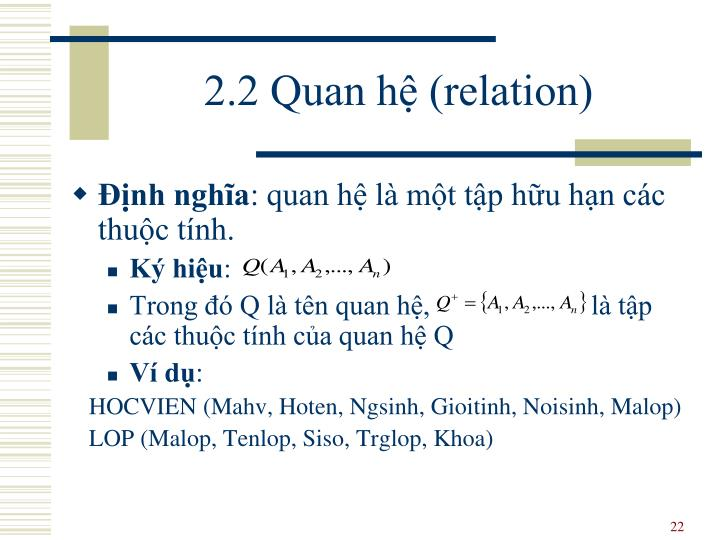 2.2 Quan hệ (relation)