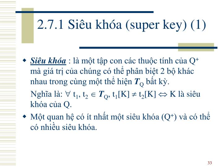 2.7.1 Siêu khóa (super key) (1)